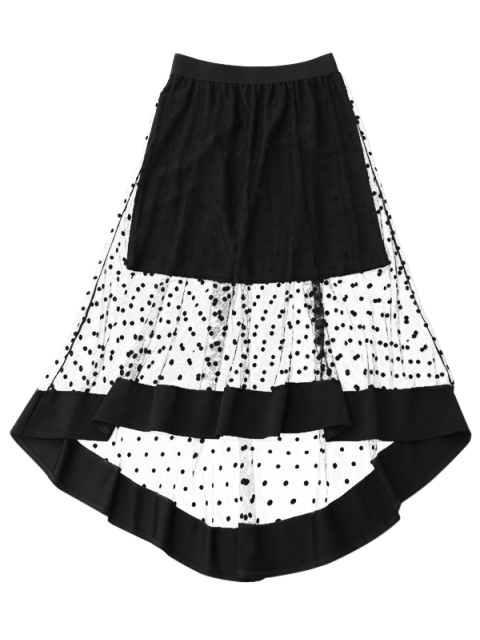 unique High Low Swiss Dot Mesh Skirt - BLACK ONE SIZE Mobile