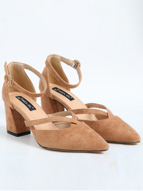 buy Pointed Toe Block Heel Cross Strap Pumps - APRICOT 37 Mobile