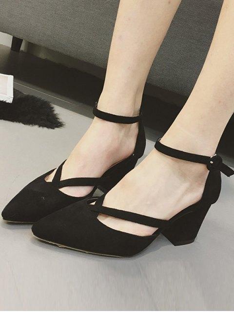 women's Pointed Toe Block Heel Cross Strap Pumps - BLACK 39 Mobile