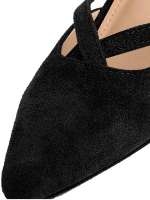 lady Pointed Toe Block Heel Cross Strap Pumps - BLACK 38 Mobile