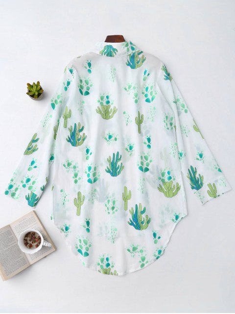 hot High Low Cactus Print Shirt Loungewear - WHITE S Mobile