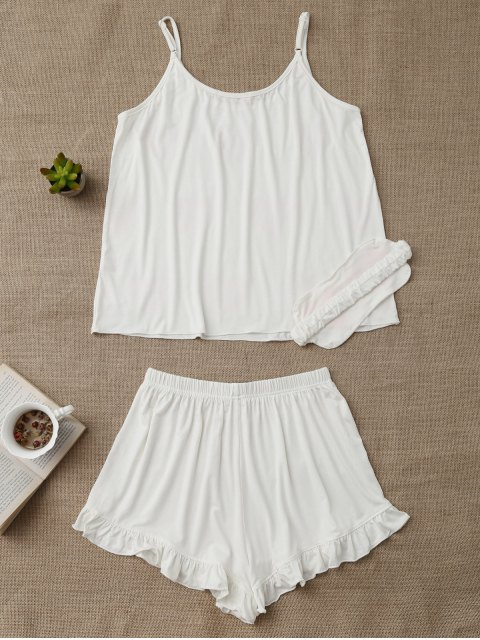 outfit Heart Pattern Cami Top with Ruffles Shorts - WHITE XL Mobile