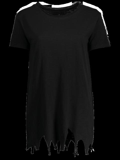 shops Ripped Hem Short Sleeve Tunic T-Shirt - BLACK ONE SIZE Mobile