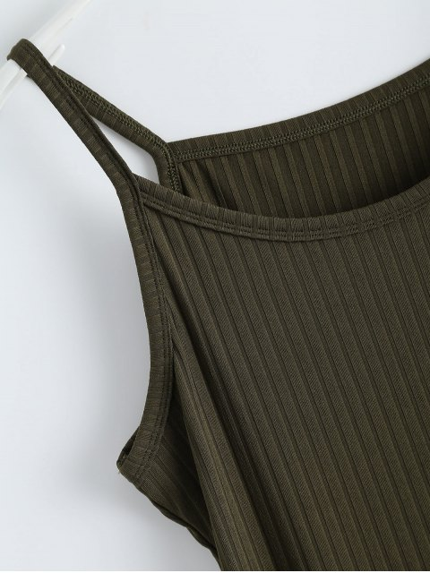 affordable Ribbed Slit Bodycon Tank Dress - ARMY GREEN M Mobile