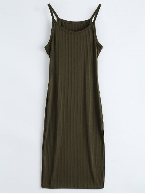 buy Ribbed Slit Bodycon Tank Dress - ARMY GREEN L Mobile