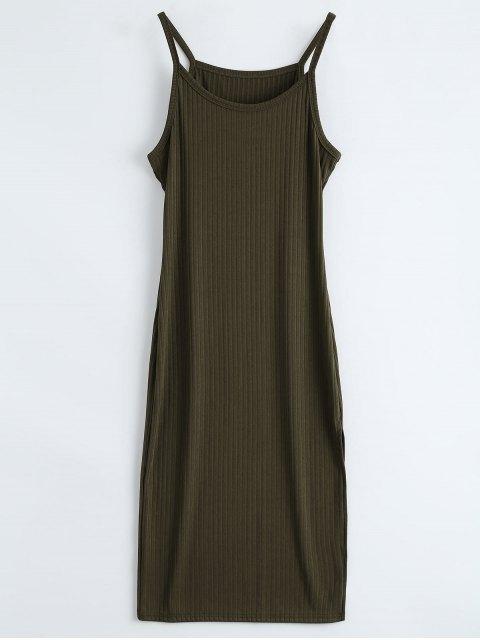 womens Ribbed Slit Bodycon Tank Dress - ARMY GREEN XL Mobile