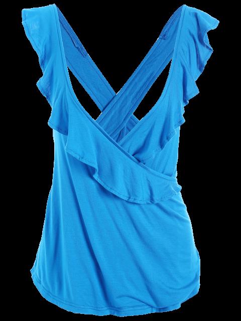 womens Ruffles Criss Cross Tank Top - BLUE 2XL Mobile