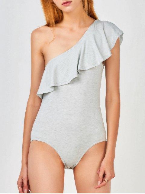 trendy Ruffles Skinny One Shoulder Bodysuit - GRAY M Mobile
