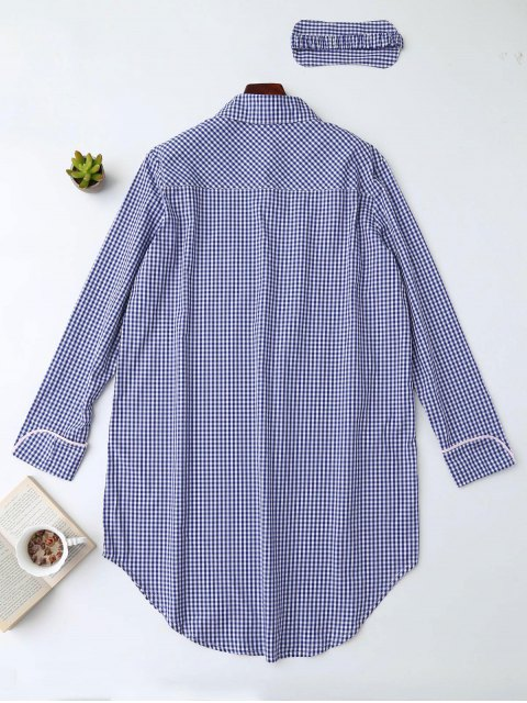 women Plaid Heart Button Shirt Loungewear with Blindfold - BLUE S Mobile