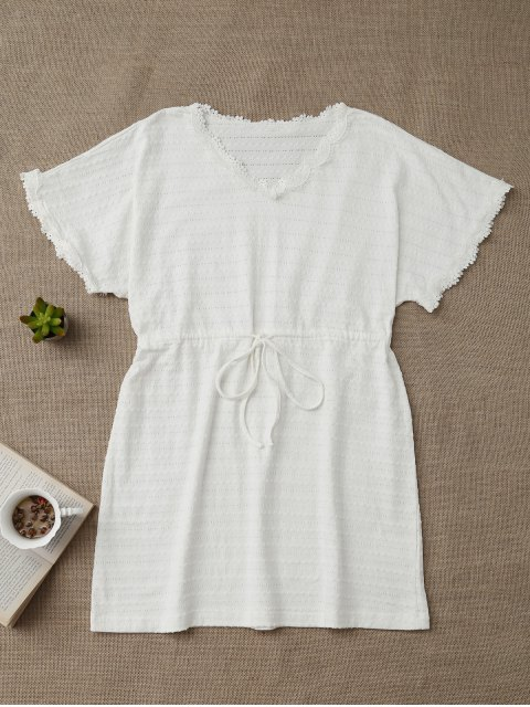 women's Drawstring V Neck Cutout Loungewear - WHITE XL Mobile