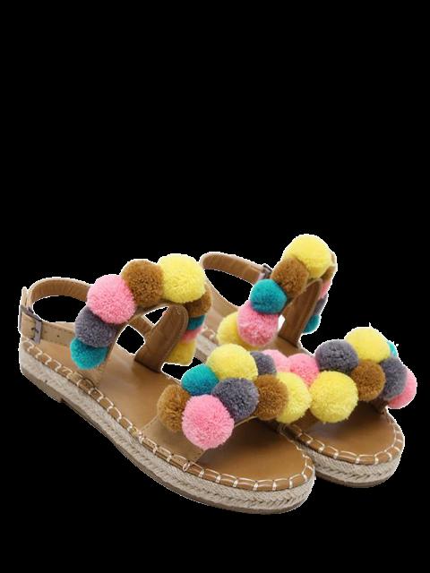 buy Flat Heel Stitching Pompon Sandals - LIGHT BROWN 37 Mobile