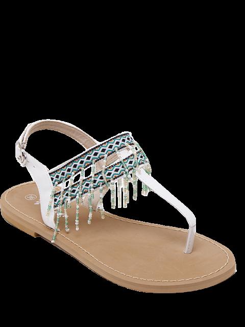 lady Fringe Geometric Pattern Beading Sandals - WHITE 39 Mobile