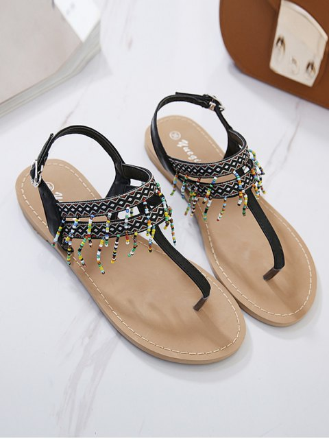 new Fringe Geometric Pattern Beading Sandals - BLACK 39 Mobile