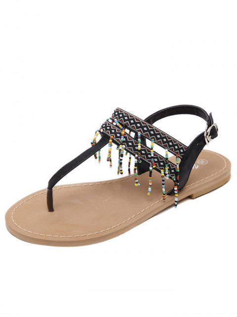 hot Fringe Geometric Pattern Beading Sandals - BLACK 37 Mobile