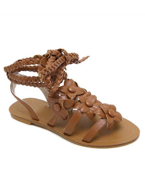 shops Flowers Tie Up Weaving Sandals - BROWN 38 Mobile
