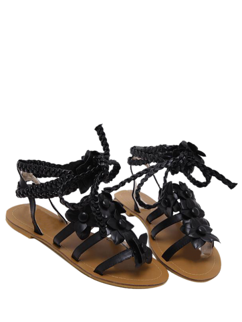 fashion Flowers Tie Up Weaving Sandals - BLACK 38 Mobile