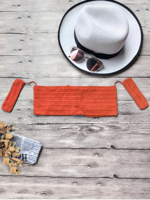 affordable Off The Shoulder Crochet Bikini Crop Top - JACINTH ONE SIZE Mobile