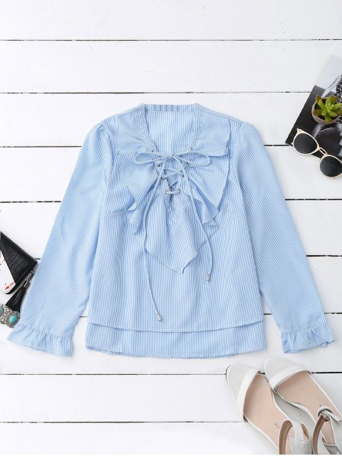 ladies Lace Up Ruffle Poplin Blouse - BLUE AND WHITE S Mobile