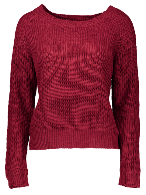 fashion Boat Neck Loose Sweater - WINE RED ONE SIZE(FIT SIZE XS TO M) Mobile