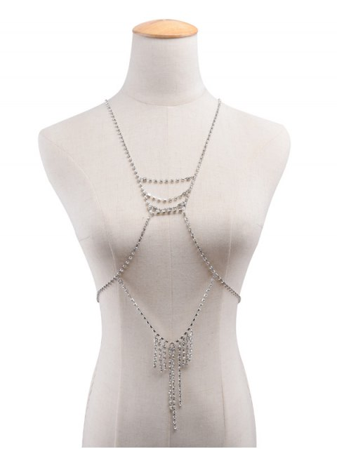 outfit Rhinestone Layered Geometric Fringed Body Chain - SILVER  Mobile
