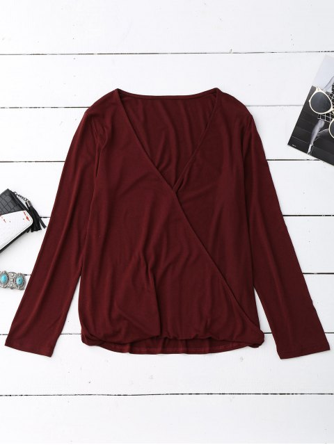 affordable Long Sleeve Crossover Layering Top - BURGUNDY XL Mobile