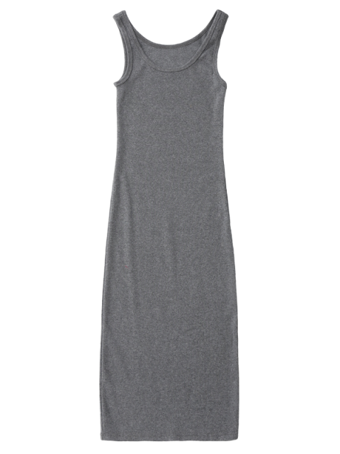 affordable Racerback Midi Bodycon Dress - GRAY ONE SIZE Mobile
