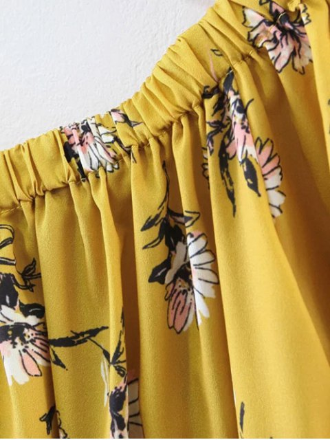 buy Floral Off Shoulder Shift Dress - YELLOW M Mobile