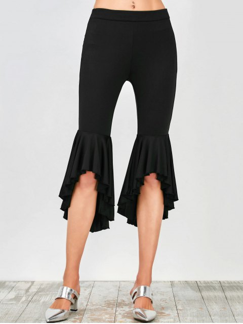 fashion Asymmetrical Ruffles Flare Pants - BLACK XL Mobile