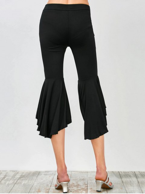 chic Asymmetrical Ruffles Flare Pants - BLACK L Mobile