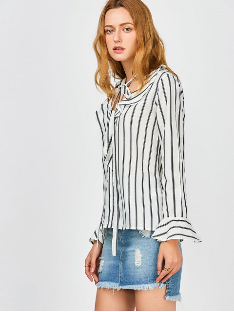 affordable Bow Tie Ruffles Striped Blouse - STRIPE 2XL Mobile