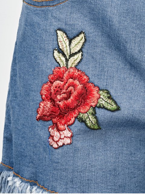 outfit Cutoffs Floral Embroidered Denim Shorts - DENIM BLUE 2XL Mobile