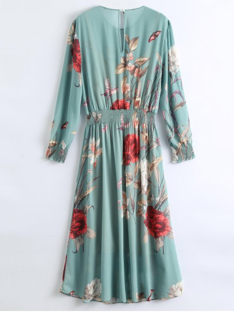 fashion See-Through Floral Maxi Dress With Cami Dress - PEA GREEN M Mobile