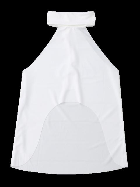 latest High Neck Dip Hem Sleeveless Top - WHITE S Mobile