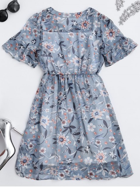 shops Sheer Floral Tie Neck Dress and Tank Top - FLORAL M Mobile