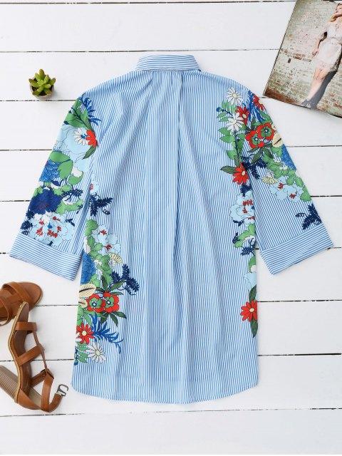 shop Floral Striped Boyfriend Tunic Shirt - STRIPE L Mobile
