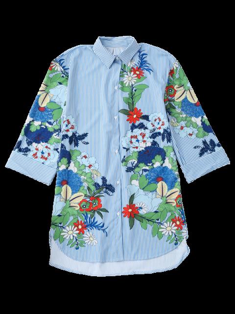 shops Floral Striped Boyfriend Tunic Shirt - STRIPE M Mobile