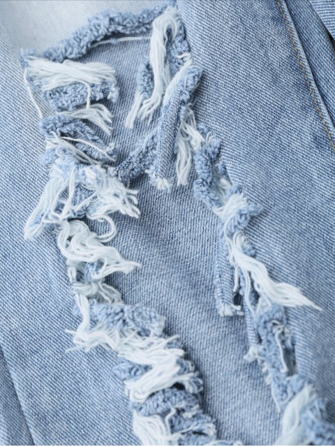sale Destroyed Cropped Jeans - LIGHT BLUE L Mobile