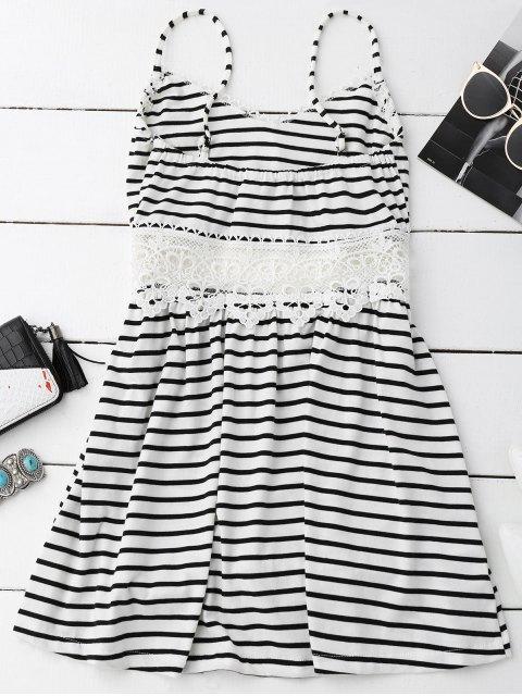 women's Crochet Trim Flared Cami Dress - WHITE AND BLACK S Mobile