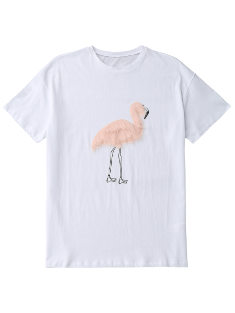 best Faux Fur Bird Oversized Tee - WHITE L Mobile