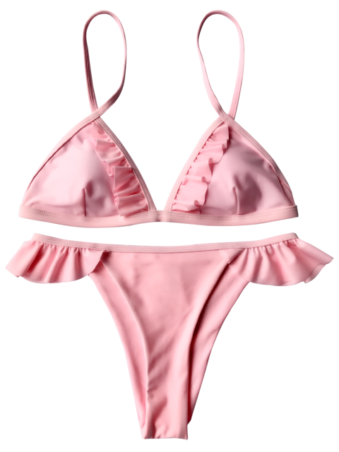 shop Cami Frilly Thong Bikini Set - PINK L Mobile