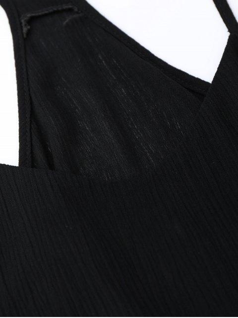 lady Spaghetti Straps Drawstring Waist Summer Dress - BLACK S Mobile
