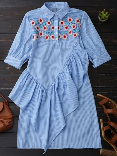 Ruffle Floral Vestido De Túnica De Camisa De Rayas - Azul