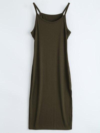 Slit Ribbed Bodycon Tank Dress