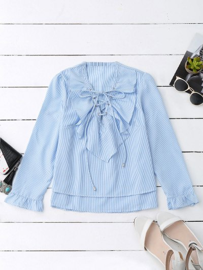 Lace Up Ruffle Poplin Blouse - Blue And White