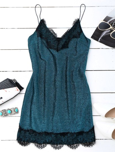 Eyelash Lace Glitter Slip Dress - Peacock Blue
