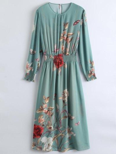 انظر من خلال فستان ماكسي الزهور مع اللباس كامي - البازلاء الخضراء S