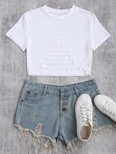 Ripped Front Cropped T-Shirt - White