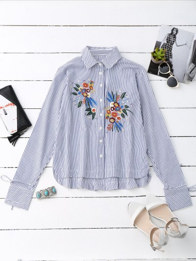 High Low Floral Embroidered Striped Shirt - Stripe
