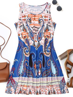 Sleeveless Graphic Print Flowy Dress
