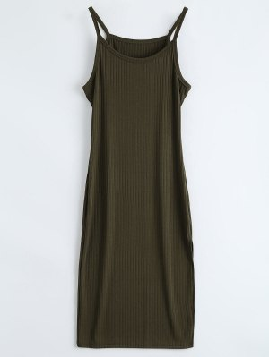 Ribbed Slit Bodycon Tank Dress - Army Green